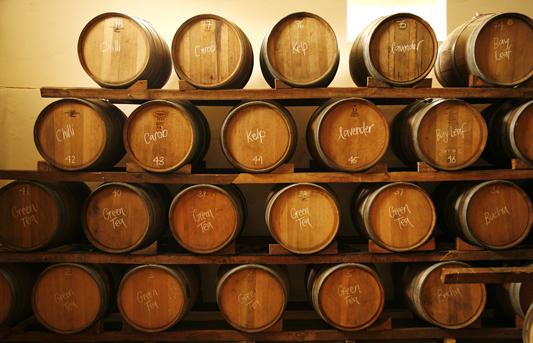 Natural fermentation of vinegar in barrels