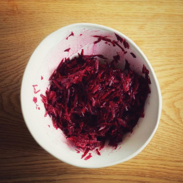 Simplicity at its best raw beetroot salad  freshly gratedhellip